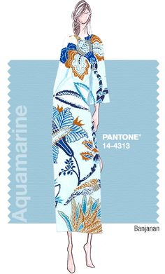 PANTONE Color Aquamarine, Classic Blue and Toasted Almond - Fashion sketches by Banjanan from the Spring 2015 Pantone Fashion Color Report. Pantone Colour Palettes, Pantone Color, Pantone 2015, Spring 2015 Fashion, Spring Summer 2015, 2015 Color Trends, Moda Xl, Fashion Colours, Blue Fashion