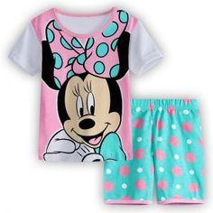 Girls Pyjamas Mini Mouse Pink and Aqua Design