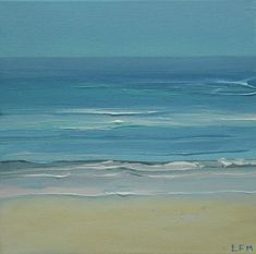 """""""Sea and Sand"""" by Linda Monk. Oil painting on Canvas, Subject: Landscapes, sea and sky, Impressionistic style, One of a kind artwork, Signed on the front, Size: 20 x 20 x 2 cm (unframed), 7.87 x 7.87 x 0.79 in (unframed), Materials: canvas , oil paint , brushes ,"""