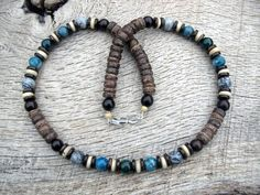 Mens surfer necklace, blue apatite, moss agate, grey jasper, bone, wood and coconut shell beads, tribal style beaded necklace, one of a kind
