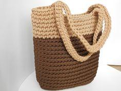 Brown crochet handbag/rope knitted bag/big market shopping bag/sand bag/woman accessories/crocheted tote/long handle bag