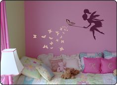Whimsy Fairy w/ wand on Moon & Blowing Stars Vinyl Wall Decal Fairy Bedroom, Girls Bedroom, Little Girl Rooms, Wall Decal Sticker, Kids Room, Home Decor, Crib, Google Search, Fairy Silhouette