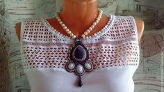 Купить Кулон- подвестка Аметист - фиолетовый, ручная работа handmade, Вышивка бисером, аметист