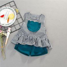 Nuevas muchachas del verano 2 unids conjunto pantalones cortos chaleco a cuadros fresco niña trajes-Juegos de ropa para niños-Identificación del producto:60648977426-spanish.alibaba.com