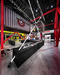 Booth design concept inspired by Decade Collection of Beats by Dre and their wireless Beats X series Gym Interior, Office Interior Design, Gym Design, Booth Design, Retail Facade, Retail Architecture, Showroom Design, Retail Store Design, Container House Design