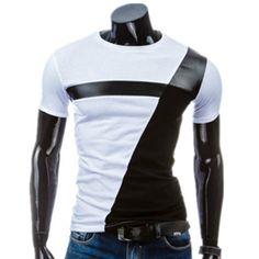 PU-Leather Splicing Design Round Neck Short Sleeve Men's T-Shirt