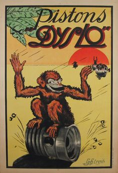 Pistons Dyslo original vintage product poster from 1925 by Streih. Only original vintage advertising lithograph posters.