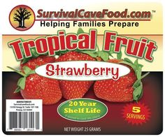 Survival Cave Food- 5 servings, long term food, well packed, for more details, visit, http://survivalcavefood.com/index.php/dehydrated-foods/freezedried-strawberry.html