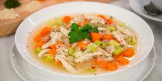 "Brittany Williams, of ""Instant Loss"" fame, shares her healthy chicken soup recipe that comes together in just 1 minute when using an Instant Pot. Healthy Chicken Soup, Chicken Soup Recipes, Chicken Soups, Canned Chicken, Rotisserie Chicken, Pasta Recipes, Slow Cooker Huhn, Slow Cooker Chicken, Rice Cooker"