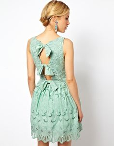 Image 1 of ASOS Premium Skater Dress In Broderie With Bow Back
