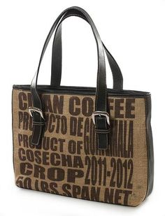 Jute and leather  shoulder bag, 'Clean Coffee' by NOVICA