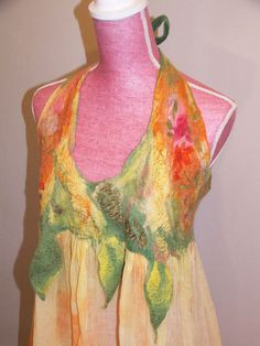 Nuno felted dress OOAK wool cotton and silk felted by beatassoul