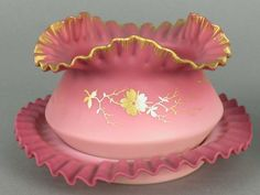 New England Peachblow Bowl and Under Plate Best Color with Gold Decoration - 6 1/4 inc DOA of Under Plate