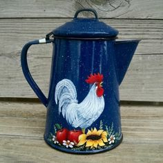 VTG BLUE Splatterware COFFEE POT HP Rooster Apple SUNFLOWER RoosterArt T.McMurry Chicken Painting, Chicken Art, Rooster Decor, Red Rooster, Country Chicken, Sunflower Kitchen, Rooster Kitchen, Farm Art, Cafetiere