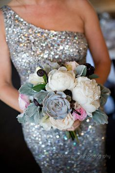 Succulent, White Peony, Blush Rose, and Dusty Miller Bridesmaids Bouquet.  Fulton's on the River Wedding. Summer Jean Photography. Sweetchic Events. Larkspur.