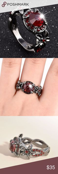 Red Ruby Black Gold Filled Ring Alloy Black Gold Plated Simulated Ruby  Band Black Gold Ring AprilsPlace Jewelry Rings