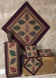 Festival of Trees Tea Dyed Quilts | Choices Quilts offers Festival of Trees Tea Dyed Quilts handmade for you! You can shop online or call us toll-free @ 1-800-572-2070 or 770-641-9700.
