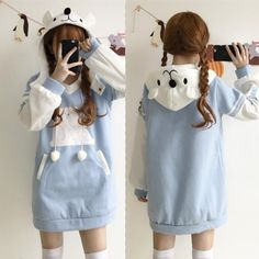 Light blue hoodie fleece dress off at Cosplay, or cosplaying is, by definition, a form of dress up or costume play. Harajuku Fashion, Kawaii Fashion, Lolita Fashion, Cute Fashion, Girl Fashion, Fashion Styles, Fashion Women, Girl Outfits, Casual Outfits