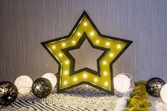 Night light Kids lamp Nursery decor Nursery night light Baby shower Marquee lamp Battery Operated star decor nursery star yellow star black star yellow nursery yellow black star