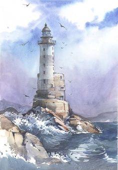 Lighthouse by Sukhotskaya - Leuchtturm - Nature Watercolor Painting Techniques, Watercolor Landscape Paintings, Easy Watercolor, Seascape Paintings, Landscape Art, Indian Paintings, Painting Tutorials, Watercolor Artists, Painting Lessons