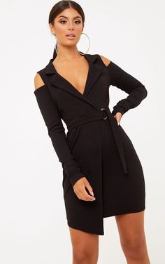 Black Cold Shoulder Blazer DressGet a total lust worthy look with this black cold shoulder blazer. Sexy Dresses, Dress Outfits, Short Sleeve Dresses, Woman Dresses, Black And White Suit, Tuxedo Dress, Frack, Blazer Dress, Blazer Fashion