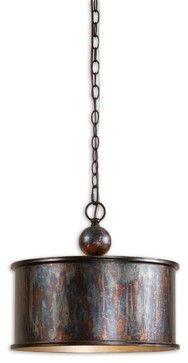 Albiano 1-Light Oxidized Bronze Pendant - traditional - pendant lighting - Fratantoni Lifestyles