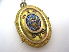 Antique Locket  Victorian Micro Mosaic by VintageInBloom on Etsy, $200.00