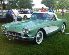 1960 Chevrolette Corvette Roadster - only 65 produced in this beautiful Cascade Green & Ermine White - seen at 2013 Keeneland Concours d'Elegance