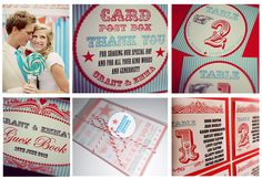 A fun carnival themed wedding stationery range using tiffany blue and hot red
