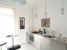 Pendants Over Counter for Non-Upper Kitchen...  (No upper cabinets is so luxurious...I like...)