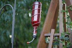 Red and Silver Wine Bottle Hummingbird Feeder  Bird Feeder  Gifts for Women  Gift for Mom  Housewarming  Outdoor Decor  Autumn Decor ** Clicking on the VISIT button will lead you to find similar product