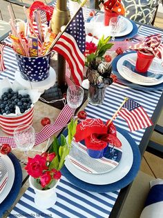 Fun table scape ideas for the of July! >>>>>>>>>>> For great July recipes visit – … Fourth Of July Decor, 4th Of July Celebration, 4th Of July Decorations, 4th Of July Party, July 4th, Table Decorations, Outdoor Decorations, Table Centerpieces, Holiday Decorations