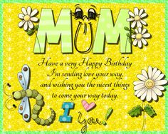 Sweet and adorable card for your mum on her birthday. Free online Sweet Mum Birthday Wishes ecards on Birthday Birthday Wishes For Mom, Birthday Hug, Birthday Songs, Very Happy Birthday, Happy Birthday Greetings, Birthday Cards, Happy Panda, Colorful Birthday, Happy Friendship Day