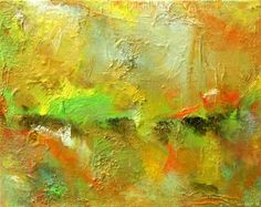 I was inspired by Nature to produce this original heavily textured oil. DESTINY (Title). Colors: Bright Lime Green, Orange, Yellow with Gold & Silver Leaf.