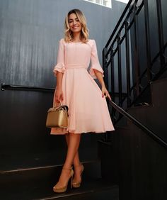 Pink short homecoming dress with half sleeves Modest Dresses, Modest Outfits, Simple Dresses, Modest Fashion, Elegant Dresses, Cute Dresses, Beautiful Dresses, Casual Dresses, Fashion Dresses
