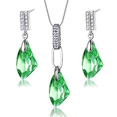 Valentines Day Gift Moon Breeze  Mondaynoon SWAROVSKI ELEMENTS Clear Crystal Pendant Necklace Drop Earrings 2 in 1 Jewelry Set for Women Gold -- Want to know more, click on the image.-It is an affiliate link to Amazon. #WeddingEarrings