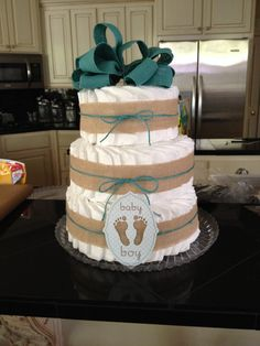 Diaper cake a friend and I made for our daughters' kindergarten teacher.