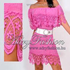 fd1adf6426 Ciklámen csipkebetétes vállra lehúzható női ruha - AdryFashion női ruha  webáruház, Ruha webshop, Amnesia, NedyN, Rensix , Egyedi ruha