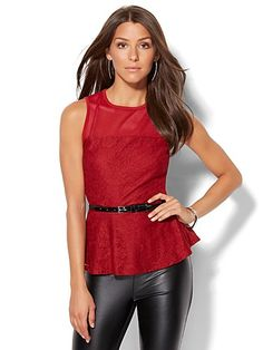 Shop 7th Avenue Design Studio - Mesh Panel Peplum Top . Find your perfect size online at the best price at New York