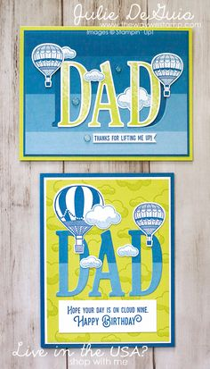 Father's Day card ideas with Letters for You and Lift Me Up by Stampin' Up! | Color Theory DSP | Glitter Enamel Dots | Lemon Lime Twist | handmade cards | The Way We Stamp | Julie DeGuia | rubber stamps | DIY cards