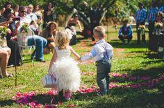 Adorable flower girl and ring bearer.  The flower girl's frilly tutu skirt is so cute too!