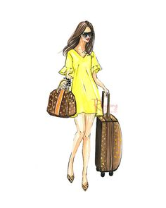 Travel in style, Fashion art print,Girly wall art,Fashion illustration,Gift for Her,Chic wall art, Girl room art
