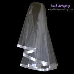 Velo de novia corto Radiance velo yema del dedo por VeilArtistry