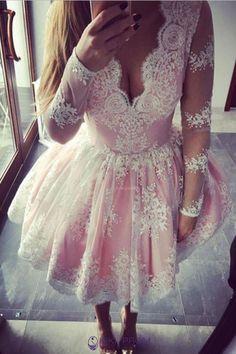 2019 Fantastic Long Sleeves Homecoming Dresses A Line Lace Krátke Šaty cc9f8c1e6e1