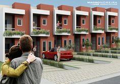 sobrados geminados pequenos 2 Terrace House Exterior, Facade House, Modern Townhouse, Townhouse Designs, Narrow House Designs, Small House Design, Modern Barn House, Modern House Plans, Condo Design