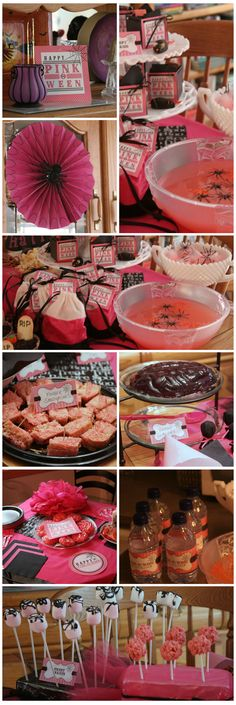 Some fun Halloween Pink Party food and decorating ideas.  Pink Rice Crispy Treats, a black spider in a pink honeycomb fan, pink cookies.  I really like the idea of spiders in the ice cubes floating in the pink punch!