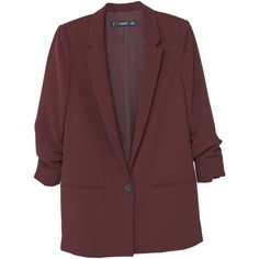 MANGO Ruched Sleeves Blazer ($80) ❤ liked on Polyvore featuring outerwear, jackets, blazers, pocket jacket, fleece-lined jackets, long sleeve blazer, lapel jacket and ruched sleeve blazer