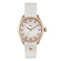 Rotary Paris ladies' white leather strap watch - Ernest Jones