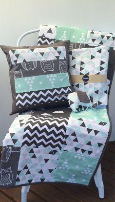Baby Cot Patchwork Quilt w/ Aqua, Black & Grey Patterns