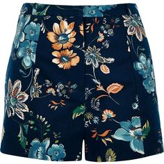 River Island Navy floral print high waisted shorts (1.114.225 VND) ❤ liked on Polyvore featuring shorts, woven shorts, floral printed shorts, highwaist shorts, navy shorts and flower print shorts